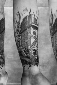 小臂神秘黑色章鱼和房子纹身图案