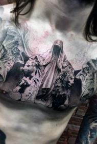 胸部可怕的神秘死神与狮子骷髅纹身图案
