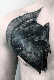 胸部深色的斯巴达战士头像纹身图案