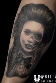 写实风格黑白女人与骷髅结合纹身图案