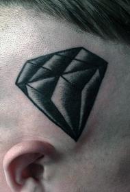 头部黑色点刺钻石纹身图案