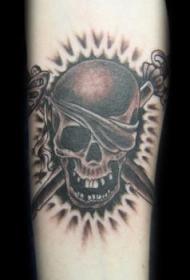 海盗骷髅和交叉剑黑色纹身图案