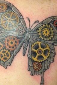 机械蒸汽朋克蝴蝶纹身图案