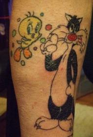 卡通翠儿和西尔维斯特猫纹身图案