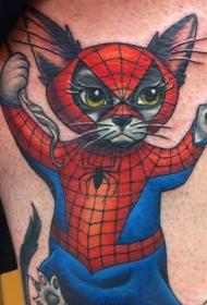 大腿卡通彩色蜘蛛猫纹身图案