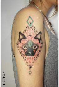 大臂装饰风格的彩色猫与符号纹身图案