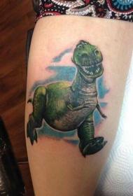 可爱的卡通恐龙与蓝色阴影纹身图案