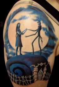 手臂卡通怪物情侣彩色纹身图案