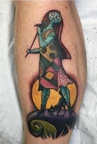 小腿彩色僵尸怪物卡通纹身图案