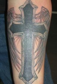 小臂宗教黑色十字架与翅膀纹身图案