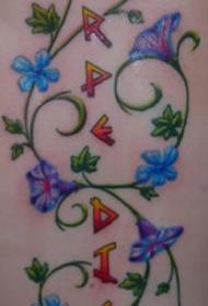 喇叭花藤蔓与字母纹身图案