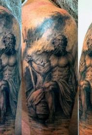 大臂海洋上的黑色海神纹身图案