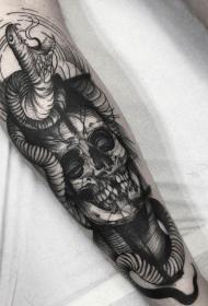 小臂黑色骷髅结合愤怒的蛇纹身图案