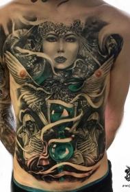 胸部奇特的彩色沙漏和女性肖像骷髅纹身图案