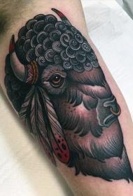 大臂new school印度风格公牛头部纹身图案