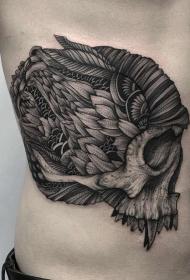 腰部装饰风格黑色神秘骷髅纹身图案
