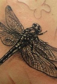 黑色写实蜻蜓纹身图案