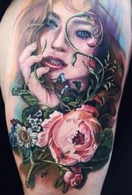 插画风格漂亮的鲜花和女生肖像纹身图案
