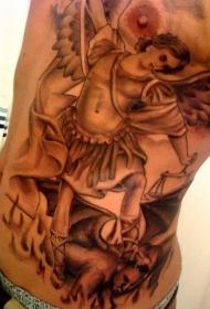 腹部宗教天使与恶魔纹身图案