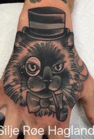 戴帽子的吸烟猫插画式手背纹身图案
