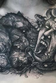 胸部邪恶美杜莎与三头狼纹身图案