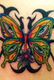 蝴蝶翅膀和部落图腾纹身图案