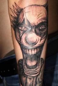 小腿上疯狂小丑纹身图案