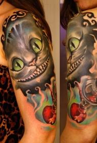 大臂彩色微笑幻想猫纹身图案