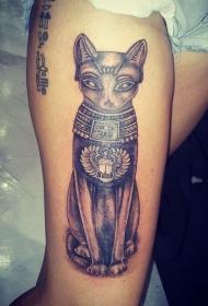 大腿埃及象形文字和黑色猫神像纹身图案