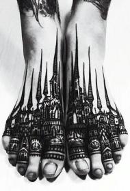 脚背华丽的黑色古城建筑纹身图案