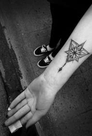 小臂黑色个性星星与几何图形相结合纹身图案