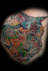 猫头与令人毛骨悚然的万圣节墓地纹身图案