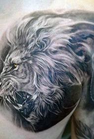 胸部写实风格彩色咆哮虎头纹身图案