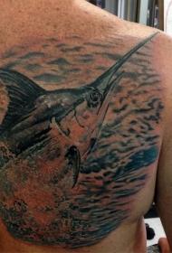 写实风格海洋鱼类纹身图案