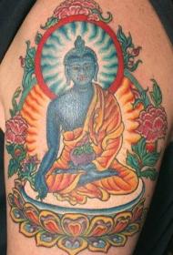蓝色冥想佛宗教纹身图案