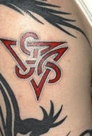 凯尔特部落标志红色纹身图案