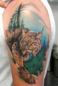 大臂惊人的彩绘逼真野猫纹身图案