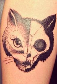 黑色半猫半骷髅纹身图案