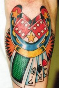 马蹄铁与骰子和扑克牌经典纹身图案