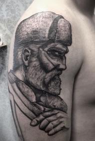 大臂黑色神秘有趣的男子肖像纹身图案