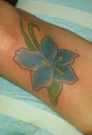 蓝色兰花纹身图案