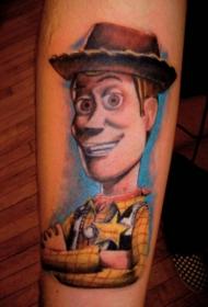 小臂彩色牛仔造型玩具卡通纹身图案