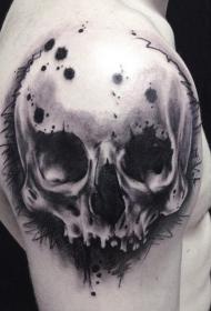 大臂黑色写实的骷髅纹身图案
