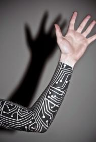 有趣的黑白电子版手臂纹身图案