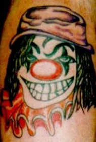 戴帽子色的小丑纹身图案