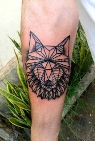 部落风格黑色线条几何狼头纹身图案