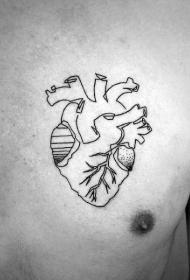 胸部简单的黑色线条心脏纹身图案