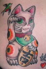 招财猫燕子与字符彩色纹身图案
