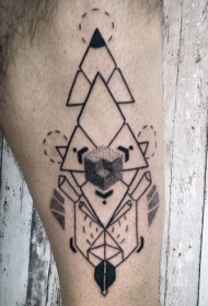 腿部神秘黑色几何风格小丑纹身图案