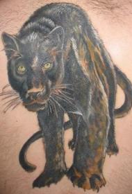 黑豹的对视纹身图案